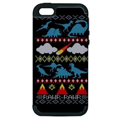 My Grandma Likes Dinosaurs Ugly Holiday Christmas Black Background Apple Iphone 5 Hardshell Case (pc+silicone)