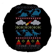 My Grandma Likes Dinosaurs Ugly Holiday Christmas Black Background Large 18  Premium Round Cushions
