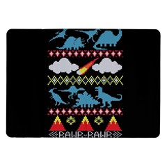 My Grandma Likes Dinosaurs Ugly Holiday Christmas Black Background Samsung Galaxy Tab 10 1  P7500 Flip Case