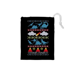 My Grandma Likes Dinosaurs Ugly Holiday Christmas Black Background Drawstring Pouches (small)