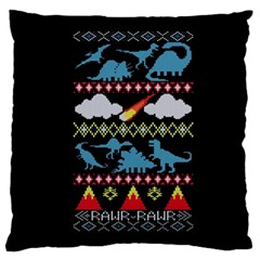 My Grandma Likes Dinosaurs Ugly Holiday Christmas Black Background Standard Flano Cushion Case (two Sides)