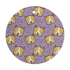 Corgi Pattern Ornament (round)