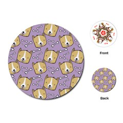 Corgi Pattern Playing Cards (round)