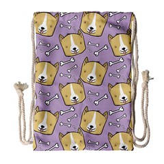 Corgi Pattern Drawstring Bag (large)