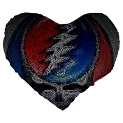 Grateful Dead Logo Large 19  Premium Flano Heart Shape Cushions