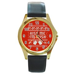 Kiss Me I m Irish Ugly Christmas Red Background Round Gold Metal Watch