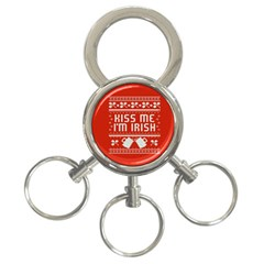 Kiss Me I m Irish Ugly Christmas Red Background 3 Ring Key Chains