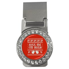 Kiss Me I m Irish Ugly Christmas Red Background Money Clips (cz)