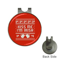 Kiss Me I m Irish Ugly Christmas Red Background Hat Clips With Golf Markers