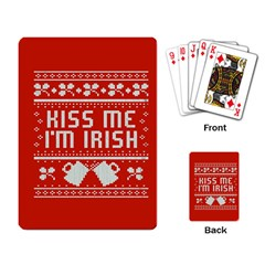 Kiss Me I m Irish Ugly Christmas Red Background Playing Card