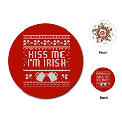 Kiss Me I m Irish Ugly Christmas Red Background Playing Cards (round)
