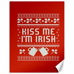 Kiss Me I m Irish Ugly Christmas Red Background Canvas 12  X 16