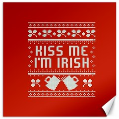 Kiss Me I m Irish Ugly Christmas Red Background Canvas 20  X 20