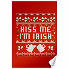 Kiss Me I m Irish Ugly Christmas Red Background Canvas 24  X 36