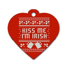 Kiss Me I m Irish Ugly Christmas Red Background Dog Tag Heart (two Sides)