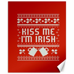 Kiss Me I m Irish Ugly Christmas Red Background Canvas 11  X 14