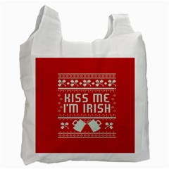 Kiss Me I m Irish Ugly Christmas Red Background Recycle Bag (one Side)