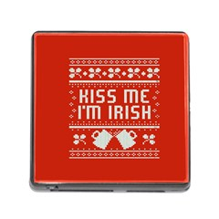 Kiss Me I m Irish Ugly Christmas Red Background Memory Card Reader (square)