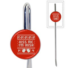 Kiss Me I m Irish Ugly Christmas Red Background Book Mark