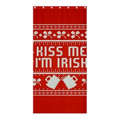 Kiss Me I m Irish Ugly Christmas Red Background Shower Curtain 36  X 72  (stall)
