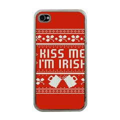 Kiss Me I m Irish Ugly Christmas Red Background Apple Iphone 4 Case (clear)