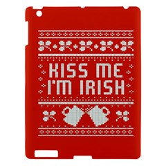 Kiss Me I m Irish Ugly Christmas Red Background Apple Ipad 3/4 Hardshell Case