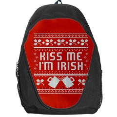 Kiss Me I m Irish Ugly Christmas Red Background Backpack Bag