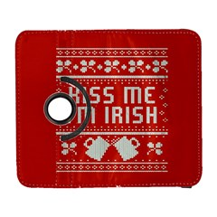 Kiss Me I m Irish Ugly Christmas Red Background Galaxy S3 (flip/folio)