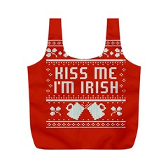 Kiss Me I m Irish Ugly Christmas Red Background Full Print Recycle Bags (m)