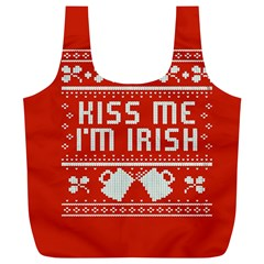 Kiss Me I m Irish Ugly Christmas Red Background Full Print Recycle Bags (l)
