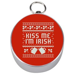 Kiss Me I m Irish Ugly Christmas Red Background Silver Compasses