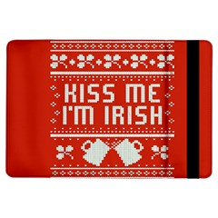 Kiss Me I m Irish Ugly Christmas Red Background Ipad Air Flip