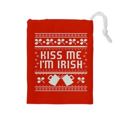 Kiss Me I m Irish Ugly Christmas Red Background Drawstring Pouches (large)