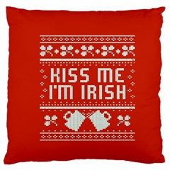 Kiss Me I m Irish Ugly Christmas Red Background Large Flano Cushion Case (one Side)