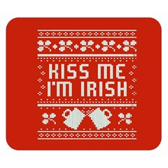 Kiss Me I m Irish Ugly Christmas Red Background Double Sided Flano Blanket (small)