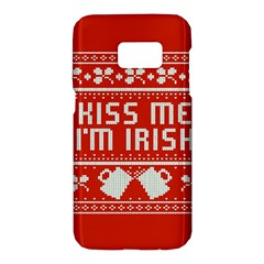 Kiss Me I m Irish Ugly Christmas Red Background Samsung Galaxy S7 Hardshell Case