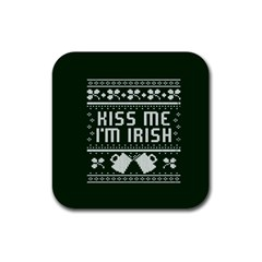 Kiss Me I m Irish Ugly Christmas Green Background Rubber Square Coaster (4 Pack)