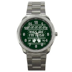 Kiss Me I m Irish Ugly Christmas Green Background Sport Metal Watch