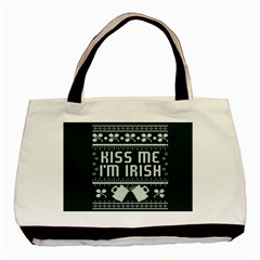 Kiss Me I m Irish Ugly Christmas Green Background Basic Tote Bag