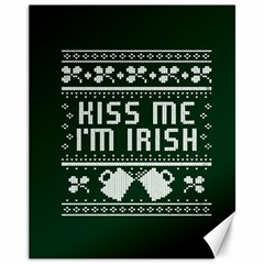 Kiss Me I m Irish Ugly Christmas Green Background Canvas 11  X 14