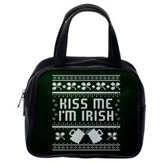 Kiss Me I m Irish Ugly Christmas Green Background Classic Handbags (one Side)