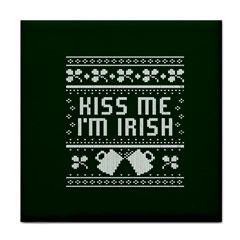 Kiss Me I m Irish Ugly Christmas Green Background Face Towel
