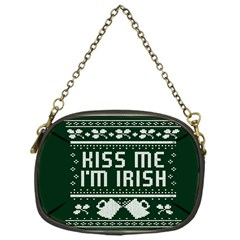 Kiss Me I m Irish Ugly Christmas Green Background Chain Purses (one Side)