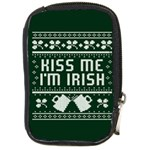 Kiss Me I m Irish Ugly Christmas Green Background Compact Camera Cases Front