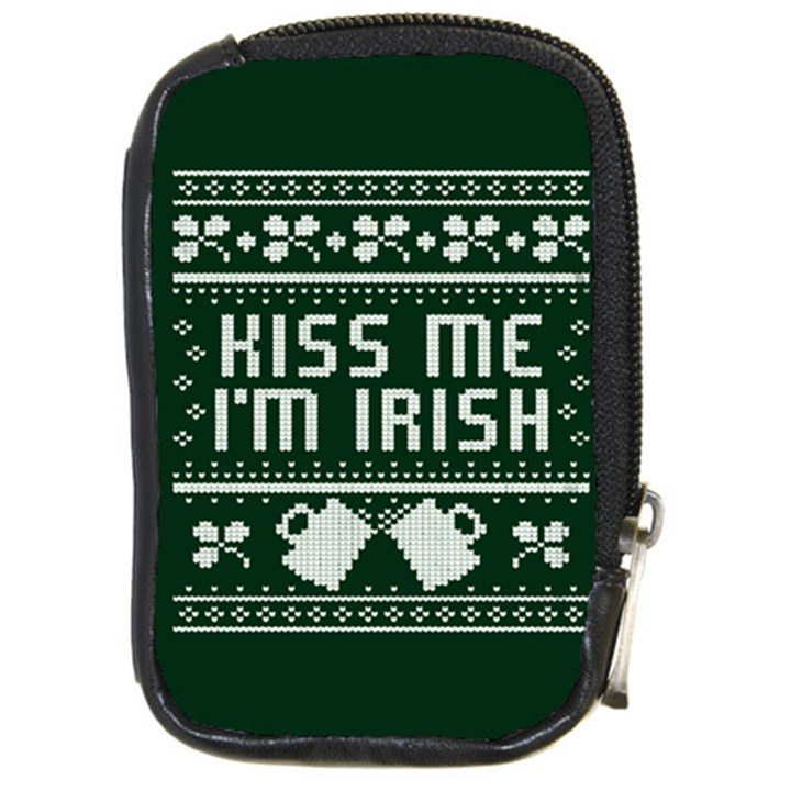 Kiss Me I m Irish Ugly Christmas Green Background Compact Camera Cases