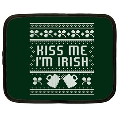 Kiss Me I m Irish Ugly Christmas Green Background Netbook Case (xxl)