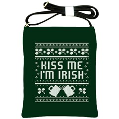 Kiss Me I m Irish Ugly Christmas Green Background Shoulder Sling Bags