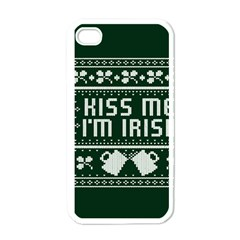Kiss Me I m Irish Ugly Christmas Green Background Apple Iphone 4 Case (white)