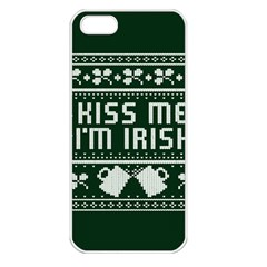 Kiss Me I m Irish Ugly Christmas Green Background Apple Iphone 5 Seamless Case (white)