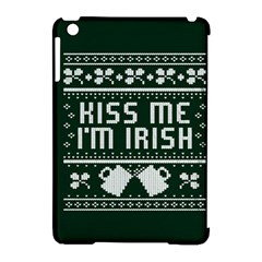 Kiss Me I m Irish Ugly Christmas Green Background Apple Ipad Mini Hardshell Case (compatible With Smart Cover)